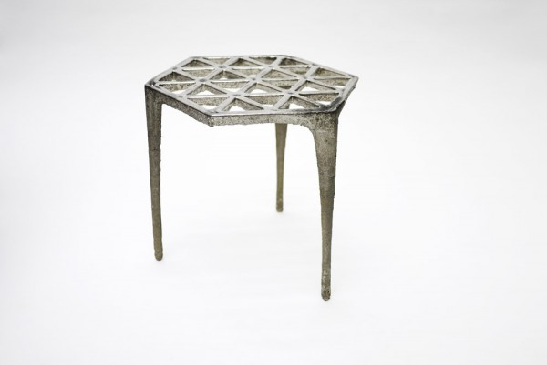 Hexagonal Pewter Stool