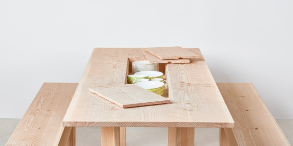 Planks Dining Table by Max Lamb with ceramics by Lindsey Adelman