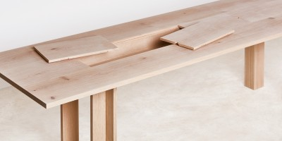 Planks Dining Table by Max Lamb with open storage