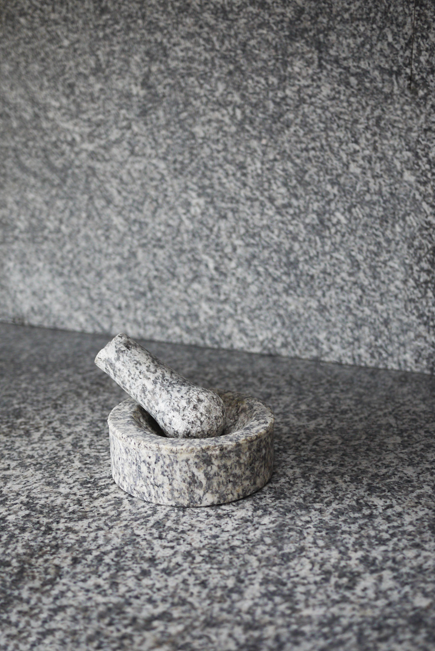 Cornish De Lank Granite pestle and mortar, December 2013.